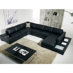 Diva 6 Seater Bonded Leather Sofa Lounge in Black | Buy Leather Sofas