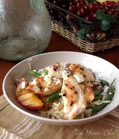 Grilled Chicken and Peaches with Green Beans and Orzo from Better Homes and Gardens via Taking on Magazines