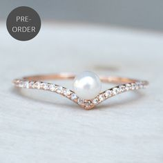 http://rubies.work/0226-ruby-rings/ Chevron V Pearl Ring - Rose Gold - The Faint Hearted Jewelry