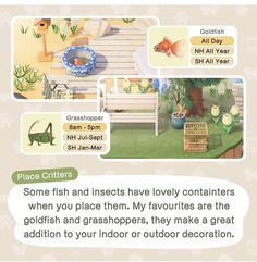 Goldfish, Animal Crossing, Insects, Outdoor Decor, Animals, Animales, Animaux, Red Fish, Animal