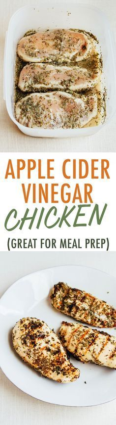 This simple apple cider vinegar chicken is my go-to recipe when making grilled chicken because it's easy, versatile and delicious! Enjoy right away or use the grilled chicken for meal prep throughout the week.