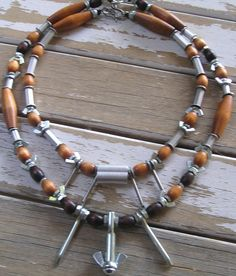 Wood and hardware necklaces