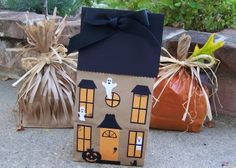 Halloween paper Bag Crafts  Witch's broom, Haunted House and Pumpkin