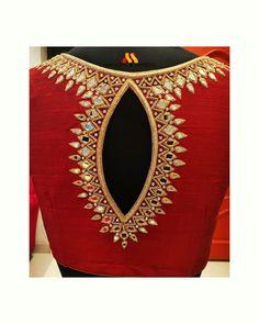 Hand Work Blouse Design, Simple Blouse Designs, Stylish Blouse Design, Silk Saree Blouse Designs, Bridal Blouse Designs, Blouse Neck Designs, Blouse Patterns, Velvet Shirts, Blouse Desings