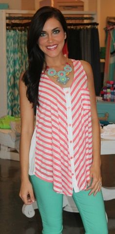 Dottie Couture Boutique - Coral Striped Tunic, $36.00 (http://www.dottiecouture.com/coral-striped-tunic/)