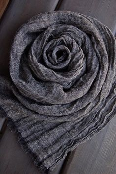 Pure LINEN Soft Gray Melange Anthracite Off White by ROSALinen