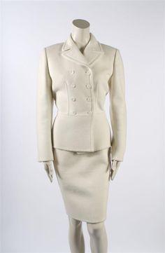 A Prada Cream Wool Skirt Suit