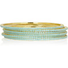 Isharya Set of six brass-plated bangles ($42) found on Polyvore
