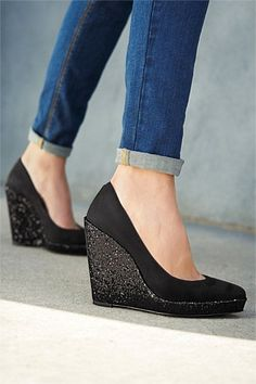 Next Glitter Wedge Court Shoes