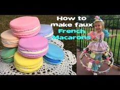 How to make faux French Macarons (Fake Food Craft Tutorial) Candy Land Christmas, Candy Christmas Decorations, Christmas Crafts, Fake Cupcakes, Fake Cake, Pretend Food, Play Food, Pretend Play, Fake Food