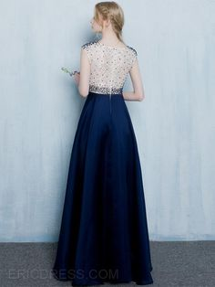 Ericdress A-Line Round Neck Beading Lace Long Evening Dress Evening Dresses 2016- ericdress.com 12195027