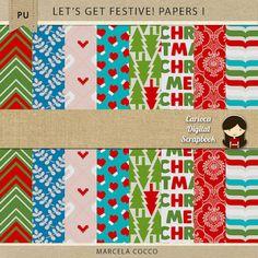 FREE Let's get festive! Papers by Carioca Digital Scrapbook - Pixel Scrapper…
