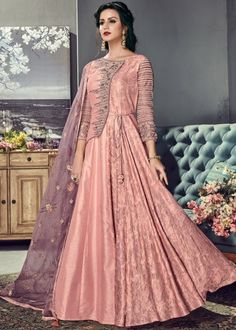 Stunning peach designer anarkali suit online which is crafted from tussar silk fabric with exclusive embroidery, zari and stone work. This stunning designer anarkali suit comes with santoon bottom and organza dupatta. Robe Anarkali, Costumes Anarkali, Silk Anarkali Suits, Salwar Suits, Indian Anarkali, Salwar Kameez, Churidar, Abaya Style, Designer Anarkali