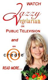 Jazzy Vegetarian - Vegan- Paella Show - Episode #203 -Easy Paella; Garlicky Hummus; Pineapple-Pecan Cake