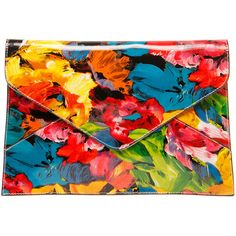 Emma Patent Floral Clutch Bag ($30) ❤ liked on Polyvore featuring bags, handbags, clutches, purses, floral purse, patent leather purse, patent leather handbags and zipper purse