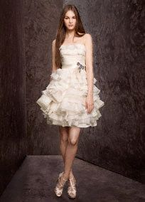 Strapless Dress with Garza Tiers and Satin Sash