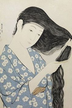 "Woman Combing her Hair. Ukiyo-e woodblock print, Japan, by artist Hashiguchi Goyo The print i have is labelled ""The model Tome combing her hair. Fine Art, Art Reproductions, Japanese Prints, Female Art, Japanese Woodblock Printing, Vintage Illustration Art, Illustration Art, Art, Woodcut"