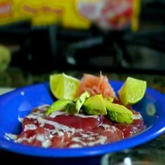 Ahi Tuna Carpaccio created by Chef Nicole LaTorre - Hawaii Sustainable Chef.  Be sure to catch her video and see how easy it is to make this amazing dish.