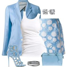 Classy in blue! I adore this blue attire, especially the shoes!!