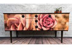 Retro Sideboard Schreiber With Succulent Decoupage | vinterior.co