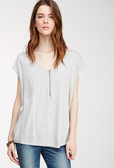 Zippered V-Neck Top | Forever 21 - 2052288962