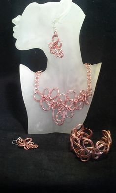 3pc Set Copper Colored Wire Necklace by SoftlySisterDesigns