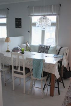 """Day bed as extra dining table seating in kitchen / living room. Drawing on """"Farmhouse Kitchen"""" in A Pattern Language."""