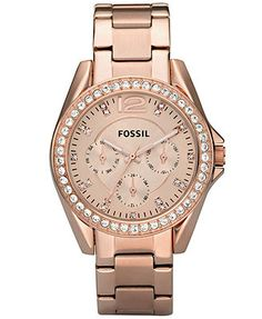 ONe that LOOKs LIKE THIS!!    Fossil Watch, Women's Riley Rose Gold Plated Stainless Steel Bracelet 38mm ES2811