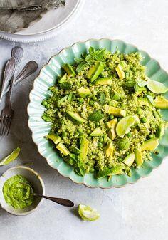 Green Goddess, Quinoa, Avocado, Peas and Pistachio Salad with Coriander Basil Pesto recipe