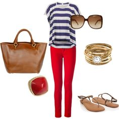 red denim, navy&white striped top, camel bag, sandals/flats