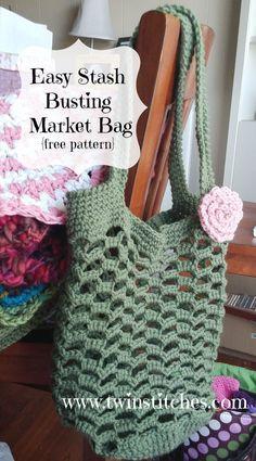 Crochet Purses Patterns Easy Stash Busting Market Bag By Jennifer Uribe - Free Crochet Pattern - (ravelry) - Bag Crochet, Crochet Purse Patterns, Crochet Market Bag, Crochet Shell Stitch, Crochet Handbags, Crochet Purses, Free Crochet, Bag Patterns, Crochet Ideas