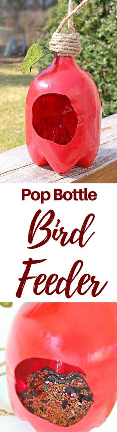 PLASTIC BOTTLE BIRD FEEDER - Get bird to flock around your garden this spring and summer when making this adorable plastic bottle bird feeder! A great way to upcycle while having fun with the kiddos!  #craft #crafting #craftideas #crafts #recycle #recycled #birdfeeder #diy #diyproject