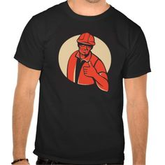 construction worker thumb up retro shirt. vector illustration of a construction workerforeman engineer holding thumbs up viewed from front set inside circle done in retro style on black background. #vectorillustration #constructionworkerthumbup