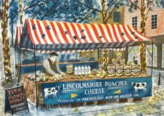 'Lincolnshire Poacher Cheese' by Emily Sutton (ink and watercolour on paper) Landscape Illustration, Illustration Art, Building Illustration, Museum Of Childhood, Homemade Art, Glasgow School Of Art, Royal College Of Art, Naive Art, Art For Art Sake