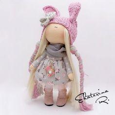 """Fabric doll / Куклы тыквоголовки ручной работы. Ярмарка Мастеров - ручная работа. Купить Интерьерная текстильная кукла """"Розовый зайчик винтаж"""". Handmade."""