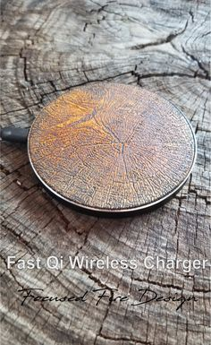 Wood Grain Fast Charge 10W Wireless Qi Charger for all Qi enabled phones and devices.