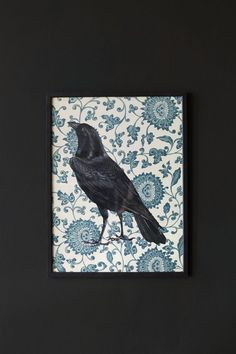 This lovely print of a majestic looking raven is truely eyecatching with a blue paisley background.Supplied without x 40 cm Paisley Background, Raven Art, Coastal Colors, Wall Decor, Wall Art, Wow Products, Color Schemes, Colours, Bird