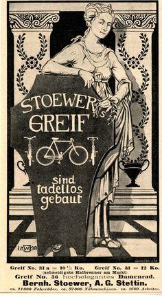 Bernh. Stoewer A.G. Stettin STOEWER GREIF DAMENRAD Historische Reklame 1899 | eBay
