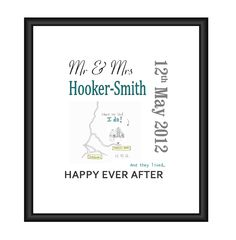 Personalised Wedding Gift Print with Love Map £38.00