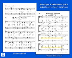 "Governing Body revises ""My Prayer of Dedication"" in new song book Jw News, Jehovah's Witnesses, Latest Books, My Prayer, News Songs, My Heart, Sheet Music, Prayers, Lyrics"