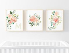 Peaches and Cream Initial 3 Bundle Nursery Art. Nursery Wall Art. Nursery Prints. Nursery Decor. Floral Art. Instant Download.