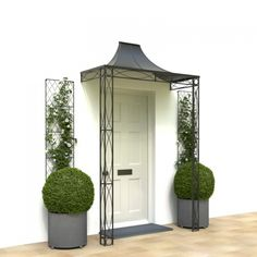 For your front door porch, Garden Requisites offer porch designs in steel. Bespoke metal porches available - Victorian porches and porch canopy designs. Porch Canopy Uk, Porch Canopy Designs, Porch Designs Uk, Front Door Canopy, Portico Designs, Porch Over Front Door, House Front, Front Porches, Cottage Porch