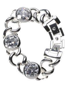 Armband mit drei eingefassten Zirkonia-Steinen im Facetten-Schliff.
