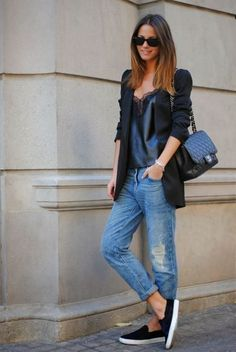 25 Ways to Style Baggy Jeans All Winter Long - delicate black satin  camisole + long blazer worn with baggy jeans b16f2b9f3