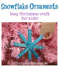 Christmas Kids Craft: Homemade Snowflake Ornaments