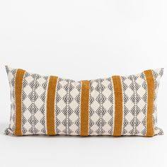 This lively black and ivory lumbar pillow is accented with a sunny embroidered golden stripe that will inject loads of exotic flair and interesting texture to your home. Large Beds, Large Sofa, Modern Throw Pillows, Decorative Pillows, Lumbar Pillow, Bed Pillows, Pillow Inserts, Pillow Covers, Stylish Beds