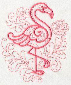 Flamingo embroidered tea towel, dish towel, flour sack towel, hand towel, embroidery. by embroiderybybeverly on Etsy