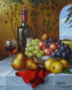 The Fruits of Our Valley by Imre Buvary Wine Painting, Fruit Painting, Wine Art, Still Life Art, Fruit Art, Pastel Art, Conceptual Art, Kitchen Art, Wines