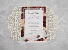 Burgundy and Gold Wedding Invitation // Gold Glitter image 3