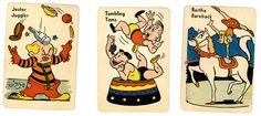 vintage old maid cards circus theme Circus Peanuts, Printable Vintage, Circus Theme, Back In The Day, Vintage Cards, Maid, Board Games, Jewelry Design, Printables